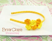 Kara - Felt Rose Cluster Thin Classic Headband (many colors available)