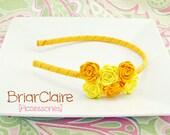 Kara - Felt Rose Cluster Thin Classic Headband (many colors available)