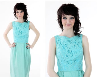 60s Wiggle Cocktail Dress Vintage 50s Mad Men Formal Blue Lace 1960s Small S XS