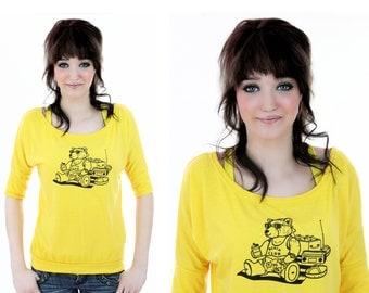 80s Bear T-Shirt Retro Sunglasses Boombox Beach Chair Beer Shirt Top Blouse Funny Cute