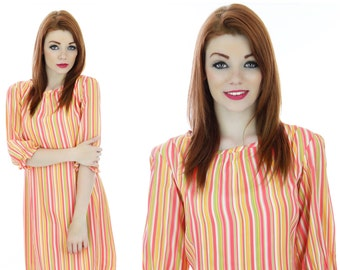 Mod Neon Dress 60s Sixties Striped 1960s 70s Mod Mini A-Line Ruffled Sleeve Cuffs Small S