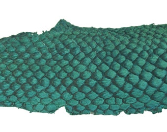 AQUA Exotic Glossy Eco Friendly, CHROME free, real Tilapia Fish Leather Skin from Go Fish Leather. Sold by each skin.
