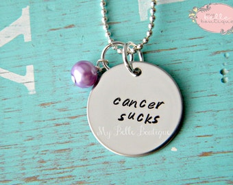 Cancer Sucks -- Hand Stamped Necklace Personalized With Pearl Charm
