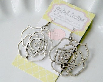 Antique Silver Rose Flower Earrings READY TO SHIP