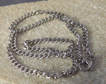 24 inch Men's Stainless Steel Flat Curb Necklace