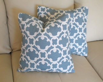 Blue Pillow Covers,  18x18 Fretwork Pillow Covers, Modern Farmhouse Decor