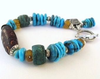 Kingman Turquoise Bracelet, African Trade Bead Bracelet, Tribal Jewelry, Dzi Bead Bracelet