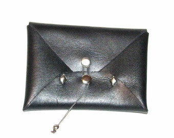 Little Black Belt Loop Wallet Business Card Case Mini Wallet with Studs and Silver Bead Handmade