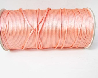 Salmon Satin Cord 2mm Cord macrame cord Kumihimo cord 2 yards satin cord Jewelry Necklace bracelet Cord