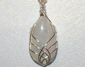 Rainbow Moonstone Wire-Wrapped Pendant