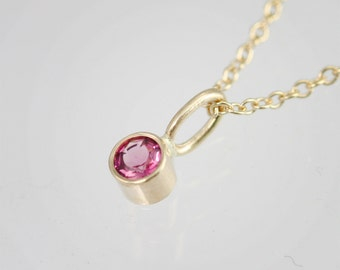 "Pink Tourmaline Drop Necklace in 14k Yellow Gold (16"")"