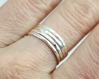 Hammered Ring Stack in Sterling Silver (Made to Order)