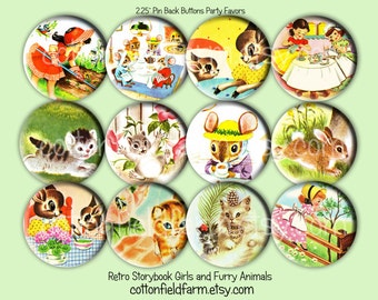Retro Storybook Little Girls and Furry Animals  Pinback Buttons 2.25 inch Set of 12 Birthday, Party Favors, Tea Party
