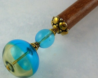 Hairstick Joyous In Blown Artisan Glass