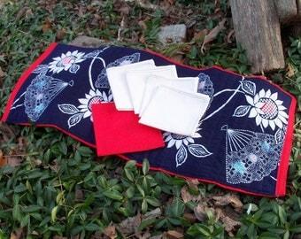 Indigo Fans Runner Tea Table Linen Set Scarf Napkins & Trivet Just Smashing...Free Shipping