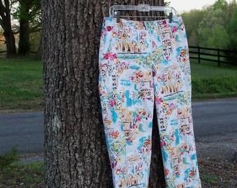 Print Capri Pants Brushed Cotton Size 12 Spring In Paris Summer Find