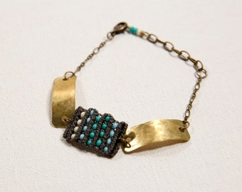 Circuit Bracelet with hammered brass (turquoise and gray)