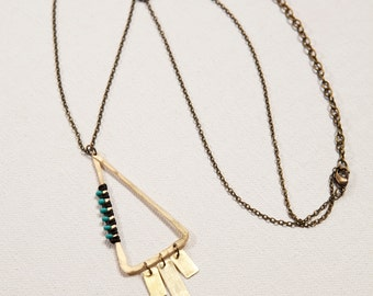 Rising Steps Necklace (black, turquoise)