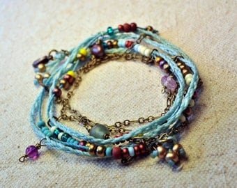Bohemian Wrap Bracelet and Necklace