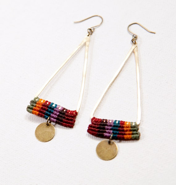 Temple Earrings (multicolor, brass)