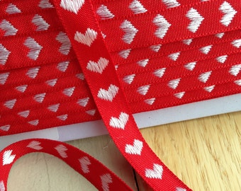 Vertical Heart Red and White Jacquard Narrow Trim 1/2 inch width - 3 yards