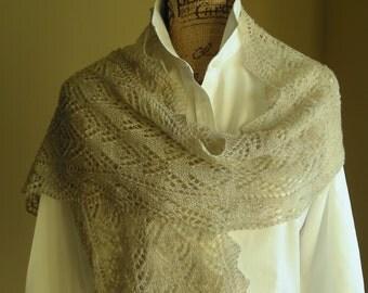 Knitting Lace Scarf Pattern PDF- Smoky Mountain Morning Mist Scarf Shawl - great gift - lace cowl shawl wrap -  pattern using sock yarn