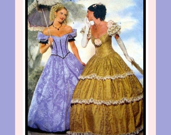 Southern Belle Party Ball Gown-Costume Sewing Pattern-Two Styles-Shaped-Fitted Bodice-Off Shoulder-Dropped Waist-Lace Ruffing-Size18-20-Rare