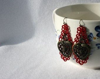EARRINGS - Diamond Long - Cherry Red - Chandelier - Heart - Valentines Day -  Free Standing Lace Embroidery - Long