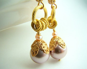 Gold and pink pearl earrings, pink dangle gold earrings... Golden Rose