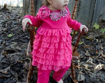 Infant Dress Hot Pink Satin Roses Chiffon Ruffle Dress Roses Headband included
