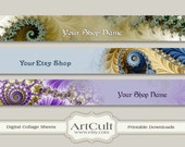 ETSY SHOP BANNERS Set No19 - Multipurpose digital images/ Printable Download/ Digital Collage Sheets/ Bookmarks/ Paper Goods