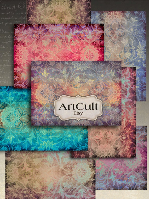 Printable Images DAMASK BACKGROUNDS Digital download Collage Sheets for paper scrapbooking decoupage jewelry and earrings holders by ArtCult
