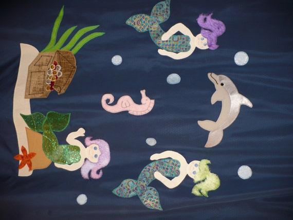 Kid's Mermaid Shower Curtain set 5 piece set: shower