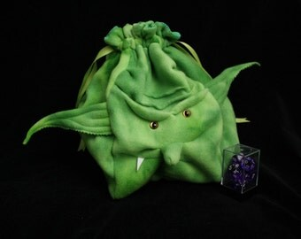 HUGE  Orc Dice Bag -Purse Monster Drawstring Pouch Spring Green tieDye with Golden Cat eyes fully lined sturdy