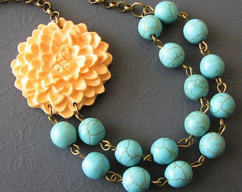 Flower Necklace Peach Jewelry Bridesmaid Necklace Turquoise Jewelry Statement Peach Necklace Double Strand Beaded Necklace