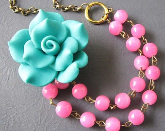 Statement Necklace Flower Necklace Pink Jewelry Teal Necklace Double Strand Gift For Her Bib Necklace