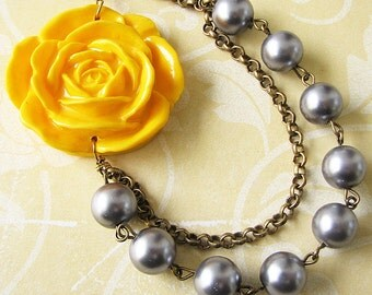 Multi Strand Necklace Flower Necklace Bridesmaid Jewelry Yellow Necklace Grey Necklace Statement Necklace