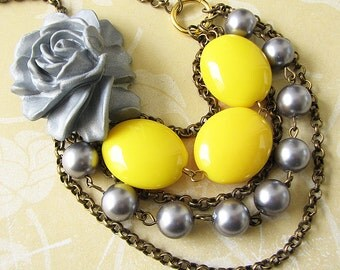 Flower Necklace Yellow Necklace Grey Jewelry Statement Necklace Multi Strand Bib Necklace Gift For Her
