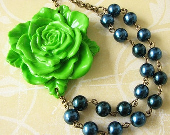 Statement Necklace Flower Necklace Bridesmaid Gift Beaded Necklace Lime Green Necklace Navy Blue Jewelry