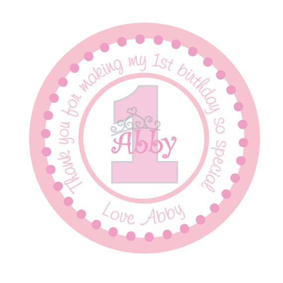 Personalized Princess Stickers, tiara, Pink,Children, Kids, Party, Favor stickers, Seals, Labels, Personalized Party Stickers Set of 25