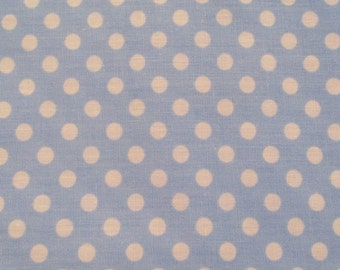 1980s Fabric Baby Blue and White Polk a Dot 1 x 44 inches SALE
