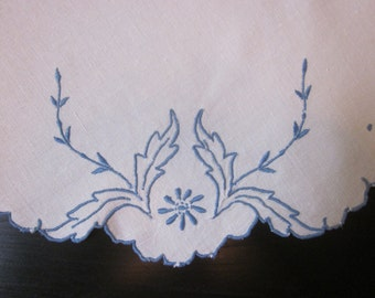 Vintage Round Cutwork and Embroidery Table Scarf in Blue