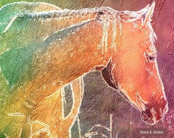 Horse Art, Pink Green Peach, Rainbow Colors, Southwestern Home Decor, Abstract Realism, Digital Equine, Wall Hanging, Giclee Print, 8 x 10