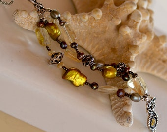 SALE. Lemon Quartz - Gold Pearls Sterling Silver Bracelet.  ENCHANTED Gemstone Bracelet.  Fresh Water Pearls  Bohemian Bracelet.
