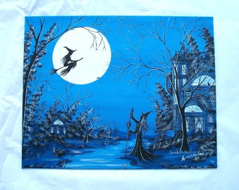 Witch Flight Blue,Witch Valley - 11 x 14 Painting Canvas Panel - Halloween