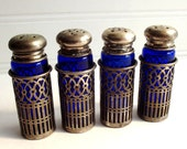 Vintage FB Rogers Silver Company Blue Glass Salt and Pepper Shakers