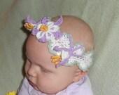 Crochet headband and hair clips PDF Pattern, Columbine Flowers