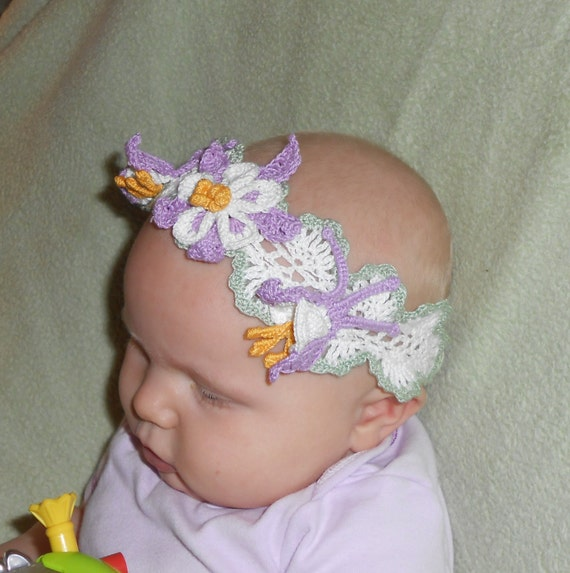 Crochet Hair Accessories Patterns : crochet headband and hair clips PDF Pattern, columbine floral headband ...