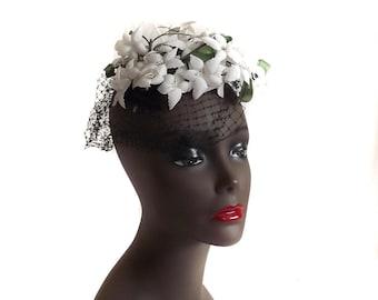 50s Hat Fascinator Accessory Gardenia Floral Accessory