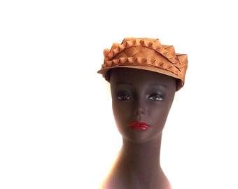 60s Hat Vintage Birch Hat Wicker Look Hat Groovy Boho Style Cap Sz S to Sz M